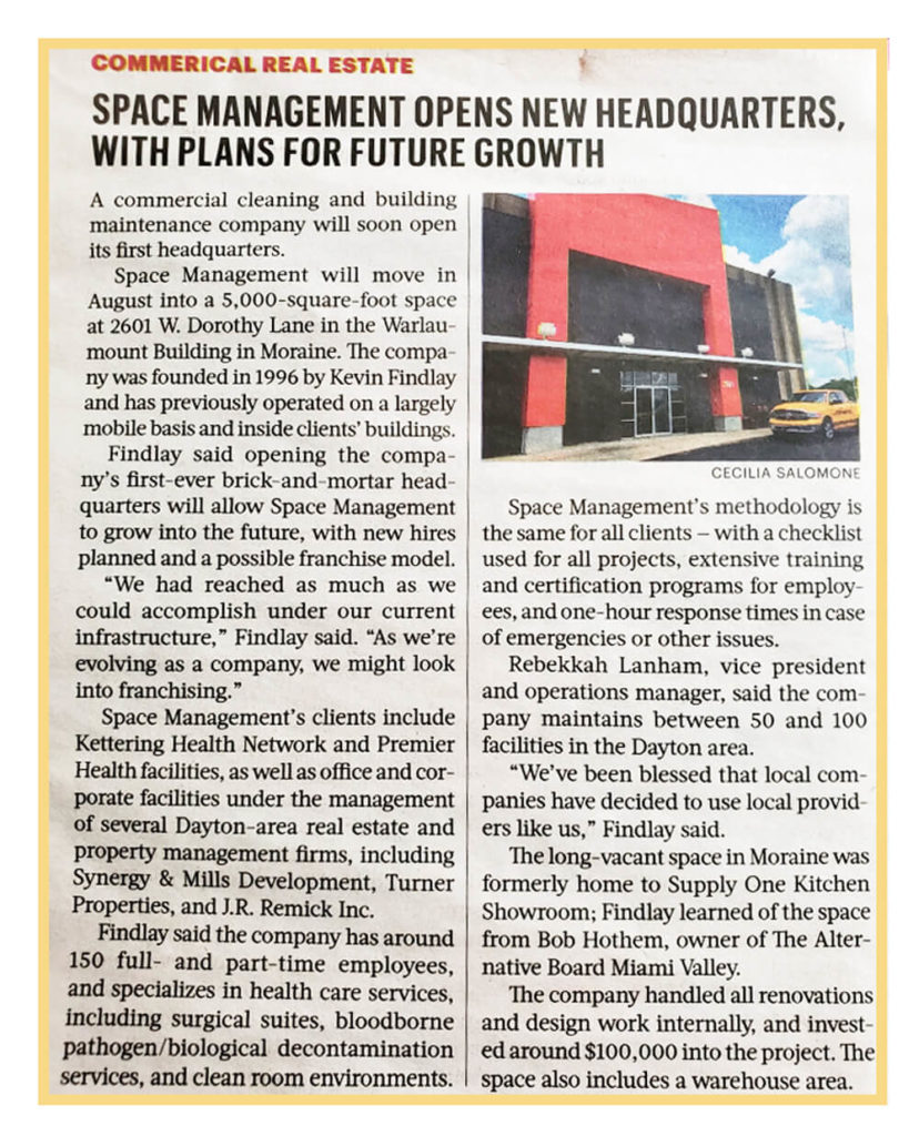 Article about Space Management's opening new headquarters building
